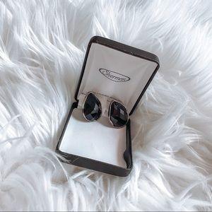 Black Jeweled Costume Earrings (Large)
